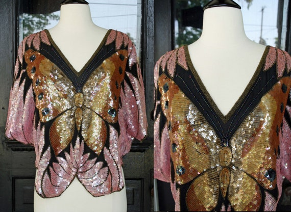 Vintage Glam 70s Lord & Taylor Butterfly Sequin Beaded Top Pink Gold