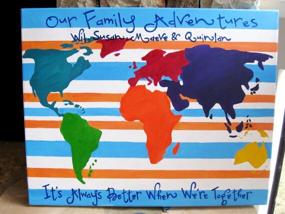 "Travels map- painted, pushpins, wedding gift, world traveler- 16""x20"" canvas"