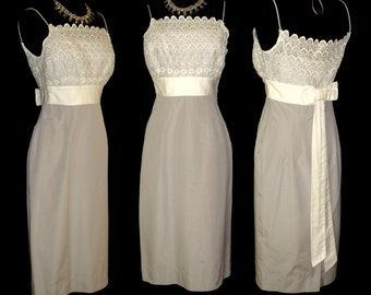 Vintage 1950s Dress . Gray White Eyelet Couture Femme Fatale Cocktail Party Garden Party Mad Men Rockabilly Wiggle Hourglass