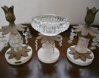 Vintage Italian  Crystal & Marble Ashtray and  Candle Holders