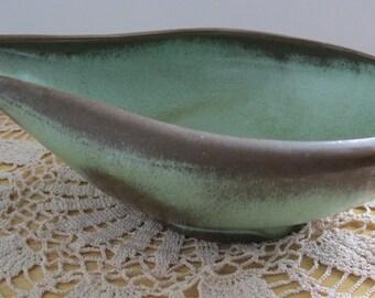 Vintage Frankoma 214 Free Form Bowl Green and Brown - FL