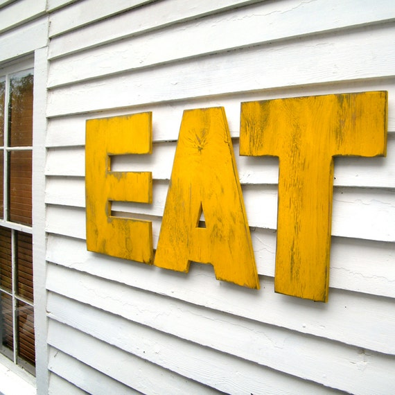 Eat big letter set letters eat kitchen decor wooden letter set for Kitchen letters decoration