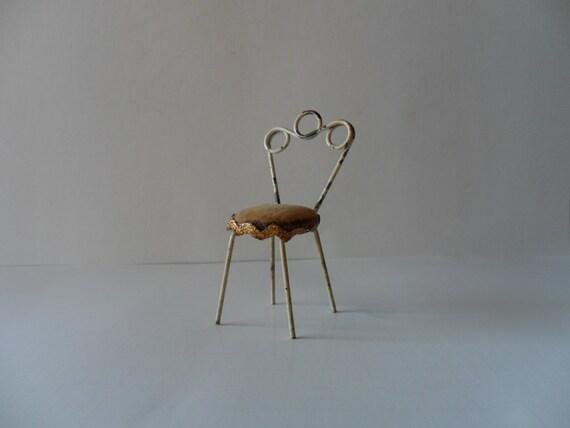 single vintage miniature dollhouse chair . antique doll house chair . vintage miniatures