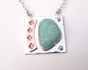 Turquoise, Sterling Silver and Copper Necklace New Handcrafted Stamped Mixed Metals Pendant with Chain Pale Blue Green Stone Fine Spiderweb