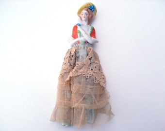 Vintage Porcelain Half Doll Painted Yellow Bonnet Orange Bodice - Clothed with Blue Satin and Beige Net Skirt Antique Sewing Accessory Japan