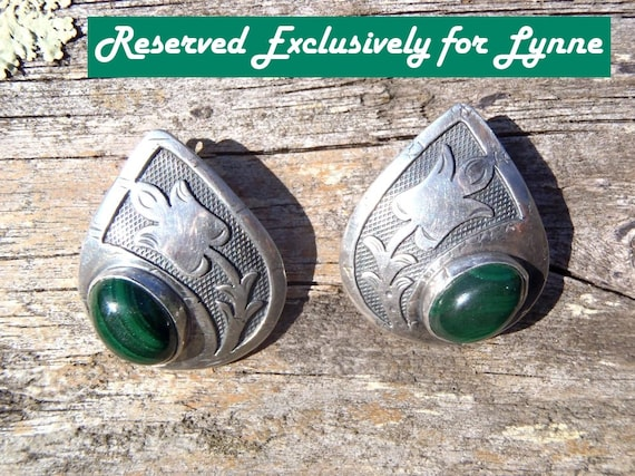 RESERVED for LYNNE Vintage Sterling Malachite Earrings Stamped Appliquéd Stylized Tulip Design Natural Green Malachite Jewelry Pierced Ears