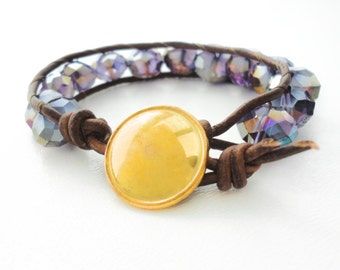 Crystal Leather Bracelet Beach Bracelet Friendship Bracelet Beaded Bracelet Leather Beach Boho Bohemian Bracelet Jewelry Gift for Her