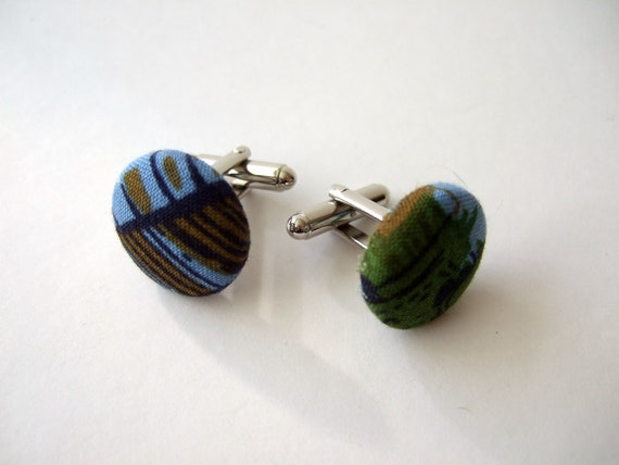 Fabric Covered Cuff Links / Vintage Blue Green 60s Print / Men's Gift / Groomsmen
