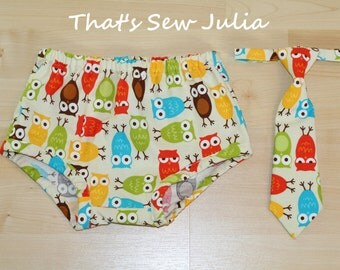 Bermuda Owl Baby Boy Diaper Cover and Tie 2PC Set (2 Colors Available)