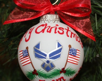 AirForce Personalized Ornament Custom Made and Handpainted with the Wings and Two America Flags
