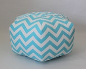 "18"" Ottoman Pouf Floor Pillow Aqua White Zig Zag Chevron"