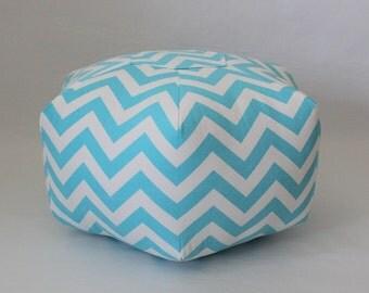 """18"""" Ottoman Pouf Floor Pillow Aqua White Zig Zag Chevron"""