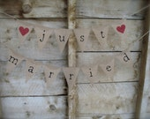Just Married double burlap banner with hearts, in lowercase old type, black lettering
