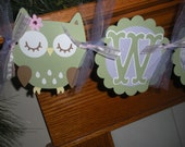 Owl Baby Banner, Baby Shower Owl Banner, Welcome Baby Banner, Lavender Sage Green Baby Girl Banner, Matching Tissue Pom Poms Available