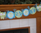 Owl Baby Shower Banner, Welcome Baby Owl Banner, Baby Boy Shower Banner, Matching Tissue Pom Poms Available