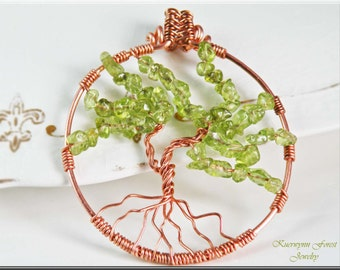Tree Of Life, Tree of Life Pendant, Tree of Life Necklace, Wire Wrapped, Peridot Gemstone, Copper Jewelry, Tree Necklace, August birthstone