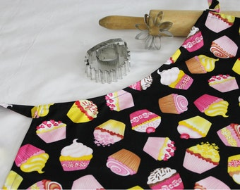 Cupcakes on Black Adult Apron