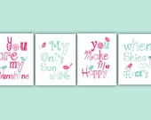 Hot Pink Nursery Decor // You Are My Sunshine Wall Art // Pink Art Prints // Pink Art for Girls // Pink and Aqua Nursery Art 4-8x10 PRINTS