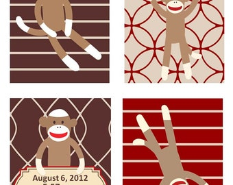 Sock Monkey Nursery Art, Red Cream and Brown Colors Set of Four  8x10 prints,Goes with Kids Sock Monkey Bedding
