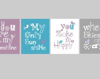 "Purple Nursery Art Prints // You are my Sunshine Prints // Purple Aqua Nursery Decor // Lavender Nursery Art // 4-11x14"" PRINTS ONLY"