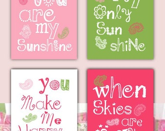 You Are My Sunshine Decor // Pink and Green Nursery Art // Paisley Art Prints //Paisley Nursery Art // Pink Art for Girls // PRINTS ONLY