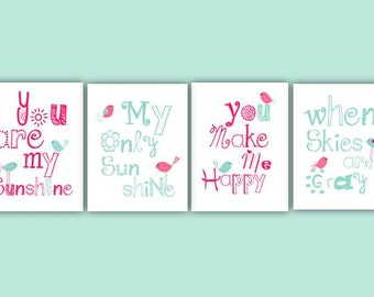 Hot Pink Nursery Decor // You Are My Sunshine Wall Art // Pink Art Prints // Pink Art for Girls // Pink and Aqua Nursery Art 4-8x10 PRINTS