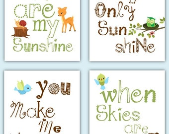 Woodland Nursery Decor // You Are My Sunshine Woodland Art // Forest Animals Nursery Art // Baby Gift // Neutral Art PRINTS ONLY