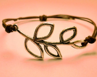 Leafy Branch Bracelet: Tree Branch Adjustable Bracelet, Color Option, Leaf Charm, Friendship Bracelet, Simple