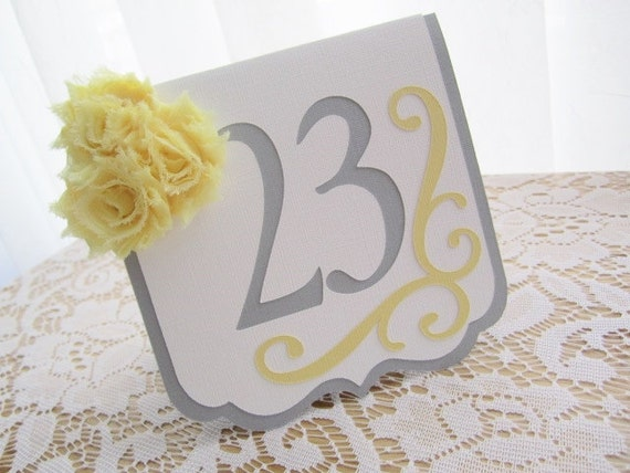 "Wedding Table Numbers - ""Flourish"" in Light Grey and White w/ White Yellow Chiffon Accents and Swirl - Choose Your Colors"