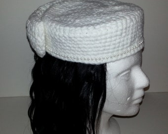 Pill Box Hat with Bow Accent
