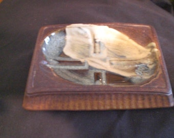 Vintage 1960s to 1970s Brown White Blue Pottery Craft Made In USA Dish Tray Manly Art