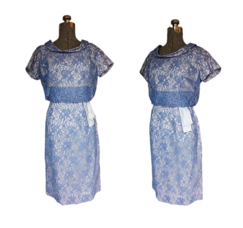 Vintage 1950s Dress Lace Periwinkle Purple by