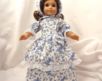 Cornflower blue and white print, long dress for 18 inch dolls, double skirted, with white lace trim.