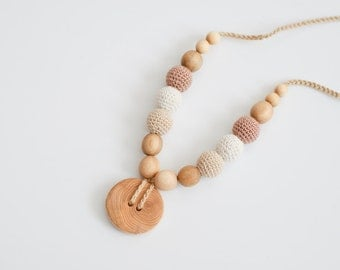 Cream & Beige Button Nursing Necklace - Juniper Wood - KangarooCare