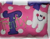 Tooth Fairy Pillow Girls Personalized Boutique Custom Made Polka Dot