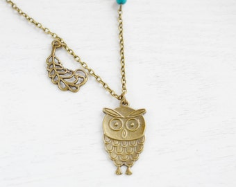 Owl Necklace,Large Owl Jewelry,Feathery Owl Pendant,Quirky Owl Necklace,Feather Necklace,Turquoise,Mother Necklace,Long Necklace,Animal Bir