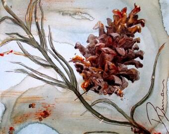 Pinecone Botanical Art Print
