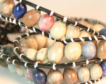 Leather Earth-toned Wrapped Around Seed Bracelet