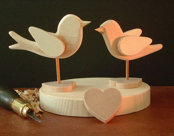 wedding cake topper diy bluebird and chickadee each on heart base