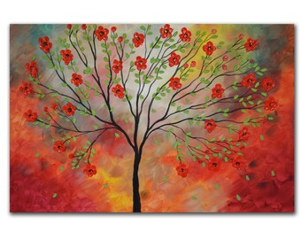Red blossom tree,Abstract Tree, Tree Painting, Red Tree, Abstract Landscape, Palette Knife Heavy Textured Summer Floral,
