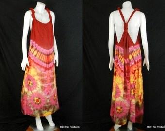 Tie Dye Handmade Hippie Gypsy Bohemian Women's Vest Maxi Long Dress Tank Blouse in Red Pink Yellow TB5