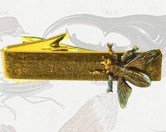 Yellow Jacket Bee Tie Clip Alligator Style Tie Bar Accent Verdegris Insect Inlaid in Hand Painted Gold Enamel