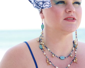 UNDER THE SEA Bead, Chain & Charm Chandelier Earrings