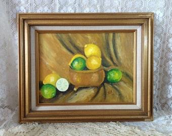 Lemons Limes Painting Signed Art