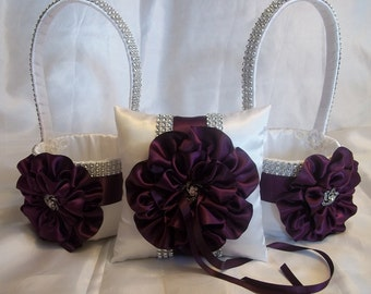 Flower Girl Baskets, Ring Bearer Pillow,  with Eggplant Purple Satin Trim and Rhinestone Mesh handle and Trim