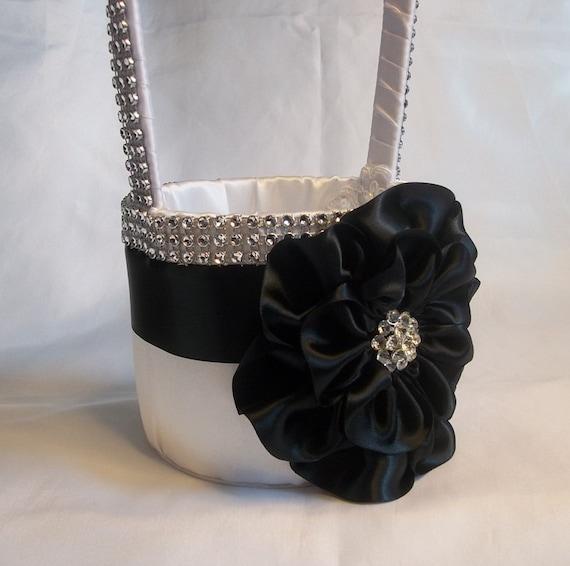 Flower Girl Baskets Black : Black white flower girl basket with by allaheartdesires