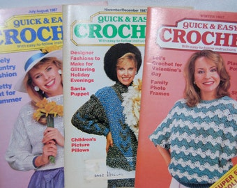 Crochet Magazines July/August 1987 Winter 1987 November/December 1987 Quick and Easy Vintage  Epsteam
