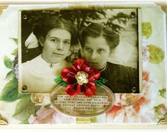 """friendship greeting card, handmade, vintage look, mixed media: """"Most Beautiful Discovery"""""""