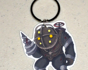 Big Daddy - Bioshock Keychain, Cell Phone Charm, Sterling Silver Earrings, Clip on Earrings or Necklace