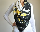 Yellow & Black Floral Shawl